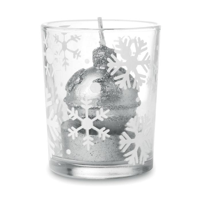 Подсвечник со свечой, серебряный