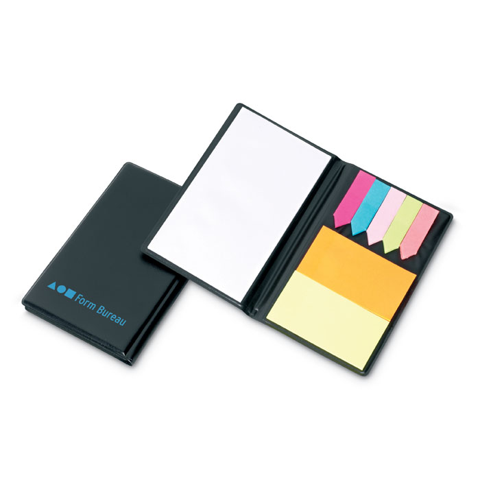 Стикеры цветные и блокнот, черный