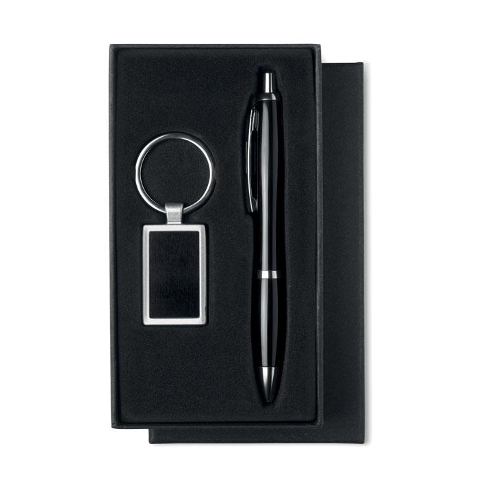 Набор: ручка шариковая и брелок, черный