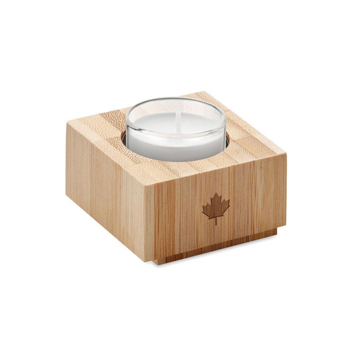 Бамбуковый подсвечник и свечи, древесный