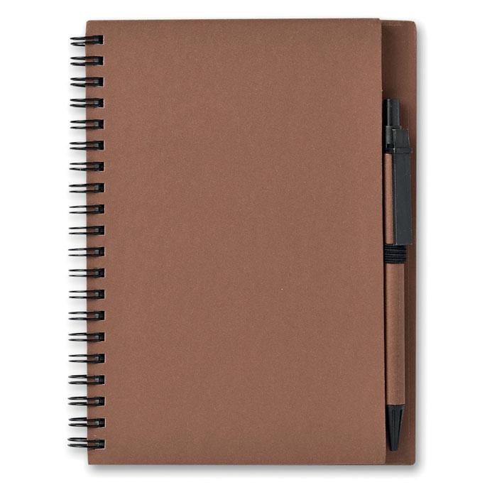 Блокнот с ручкой, коричневый