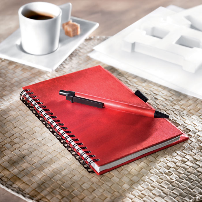 Блокнот с ручкой, красный