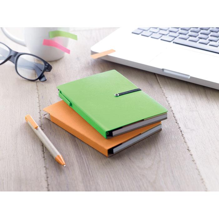 Блокнот с ручкой, зеленый-зеленый