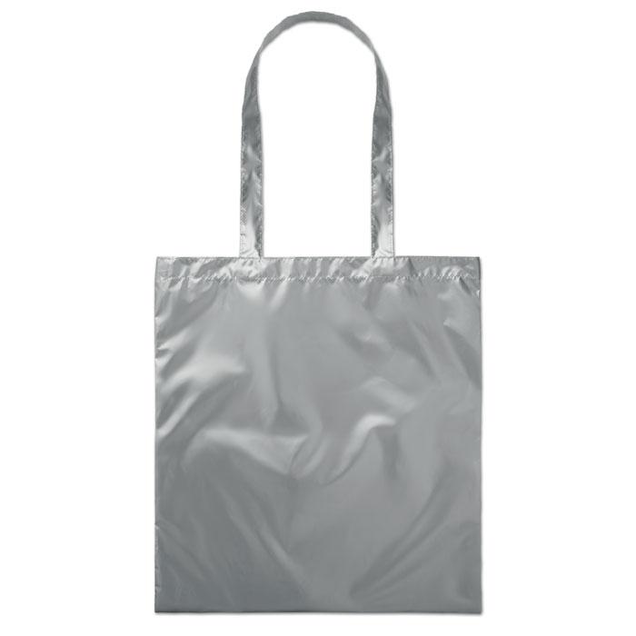Сумка шоппер блестящая, тускло-серебряный