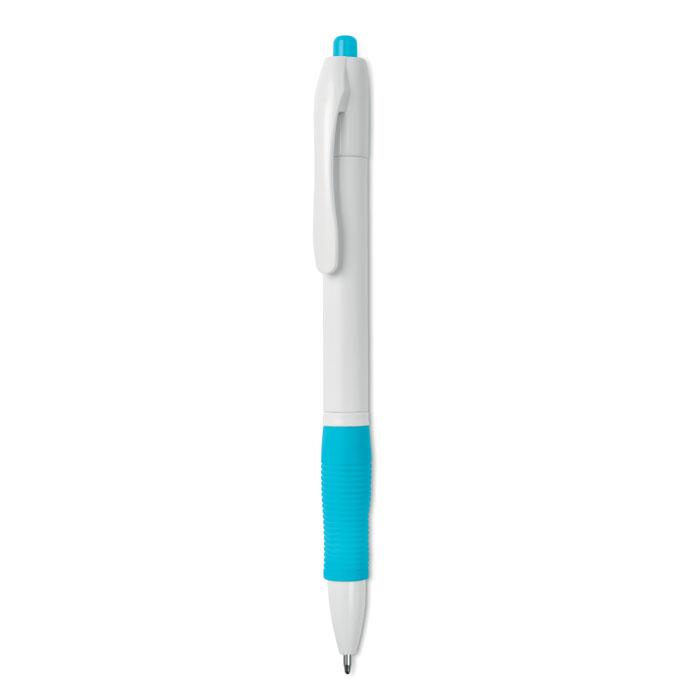 Ручка шариковая с резиновым обх, бирюзовый