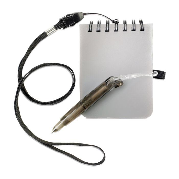 Блокнот с ручкой на шнурке, тускло-серебряный