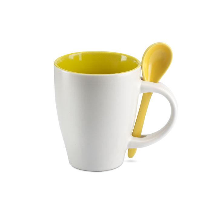 Чашка с ложкой, желтый