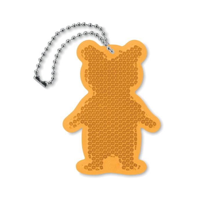 Светоотражатель в форме медведя, оранжевый