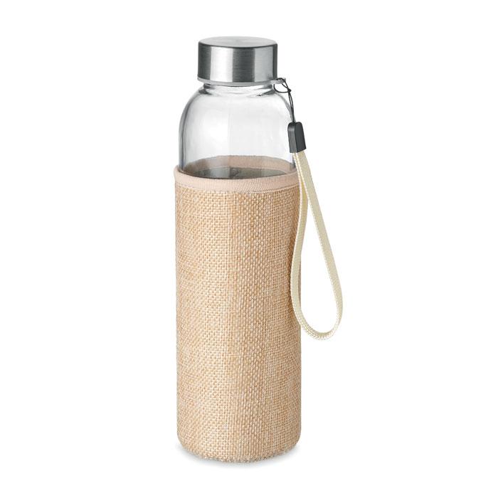 Стеклянная бутылка в чехле, бежевый