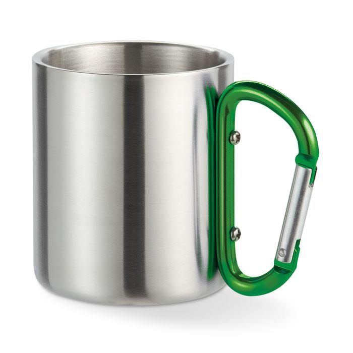 Кружка металлическая с карабином, зеленый-зеленый